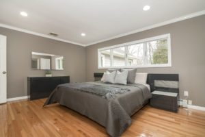 Bedroom with large windows and hardwood floors