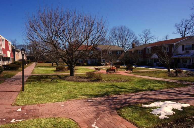 Picture of the courtyard at Springwood condos in North Babylon