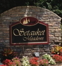 Brick sign with Setauket Meadows community sign